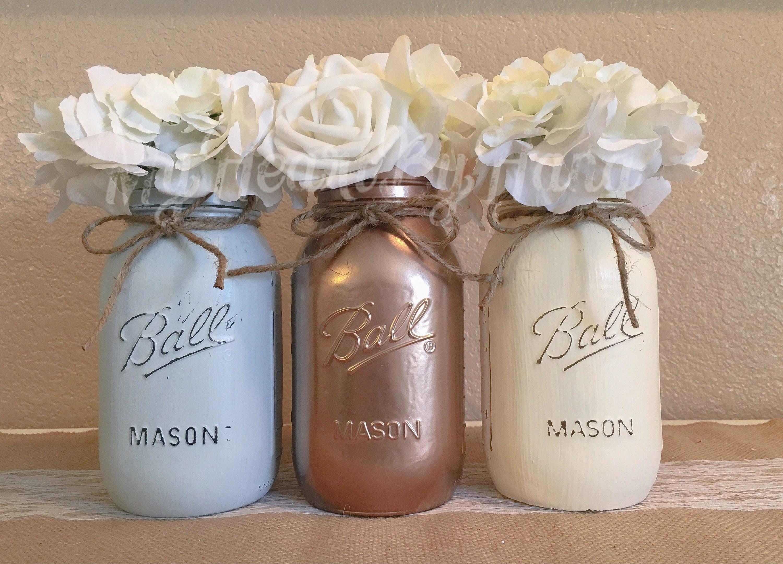 Mason Jar Home Decor Rose Gold Ivory Light Gray Mason Jar Centerpieces Rustic Home