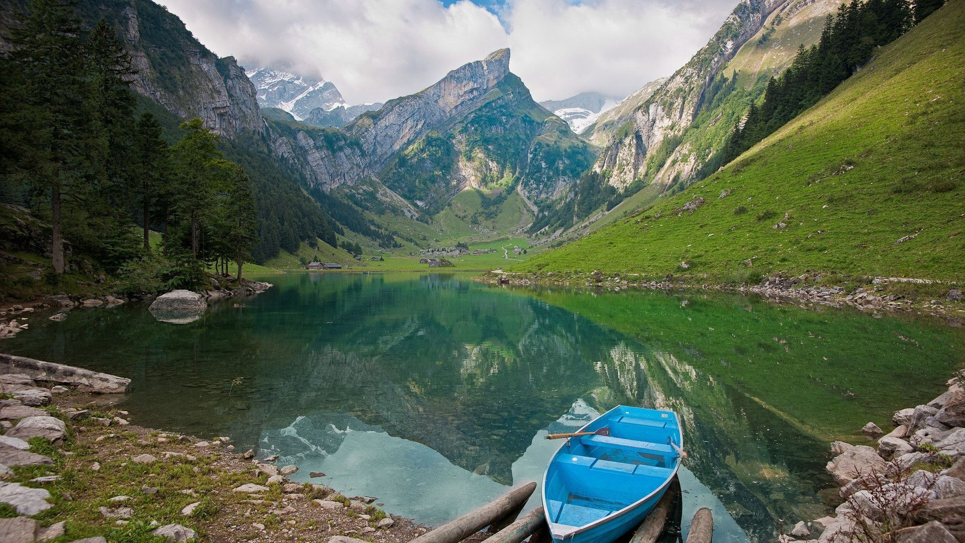 SWITZERLAND Seealpsee lake in the Alpstein range of the canton of