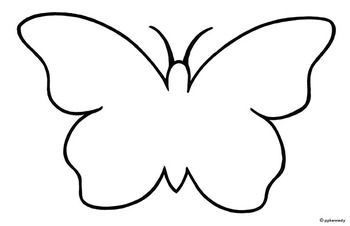 Butterfly outline template. Black and white