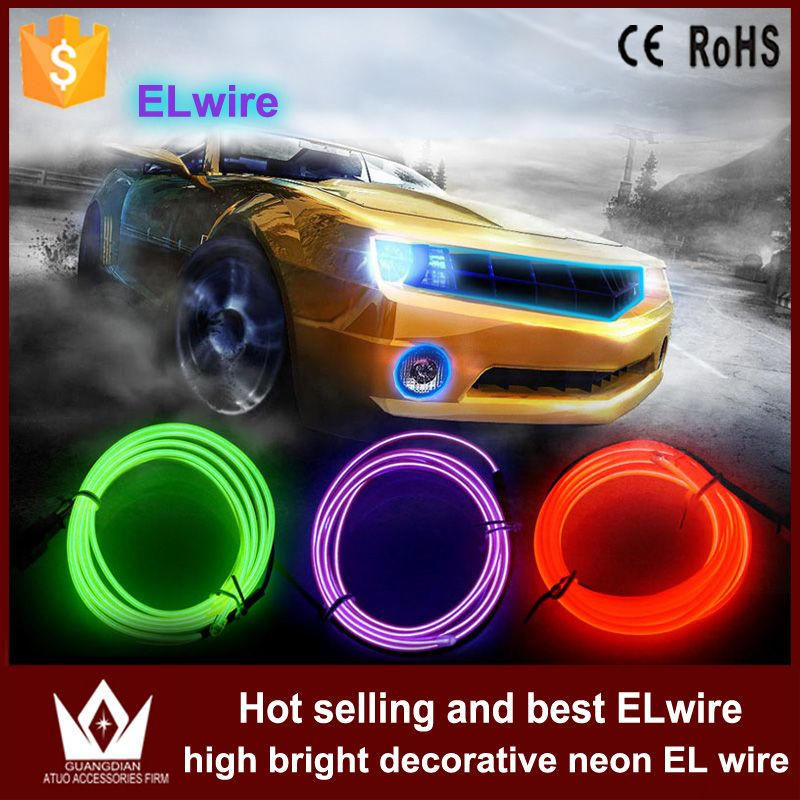 sale guangdian auto led light 3m 4m cool neon flat el wire rope ...