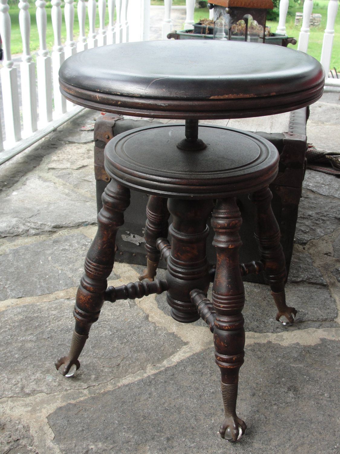 Antique Swivel Claw Foot Piano Stool Chas Parker 1800s By