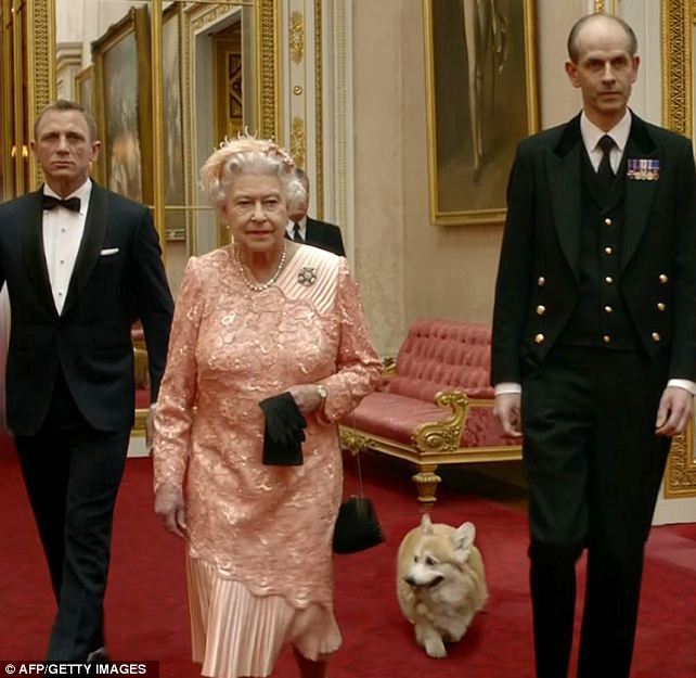 """""""Monty strolled through Buckingham Palace behind Daniel Craig and the Queen."""""""