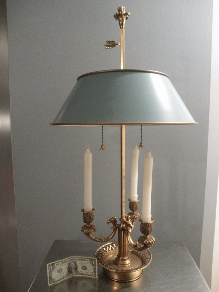 Vintage Tole French Empire Style Br Bouillotte Table Lamp