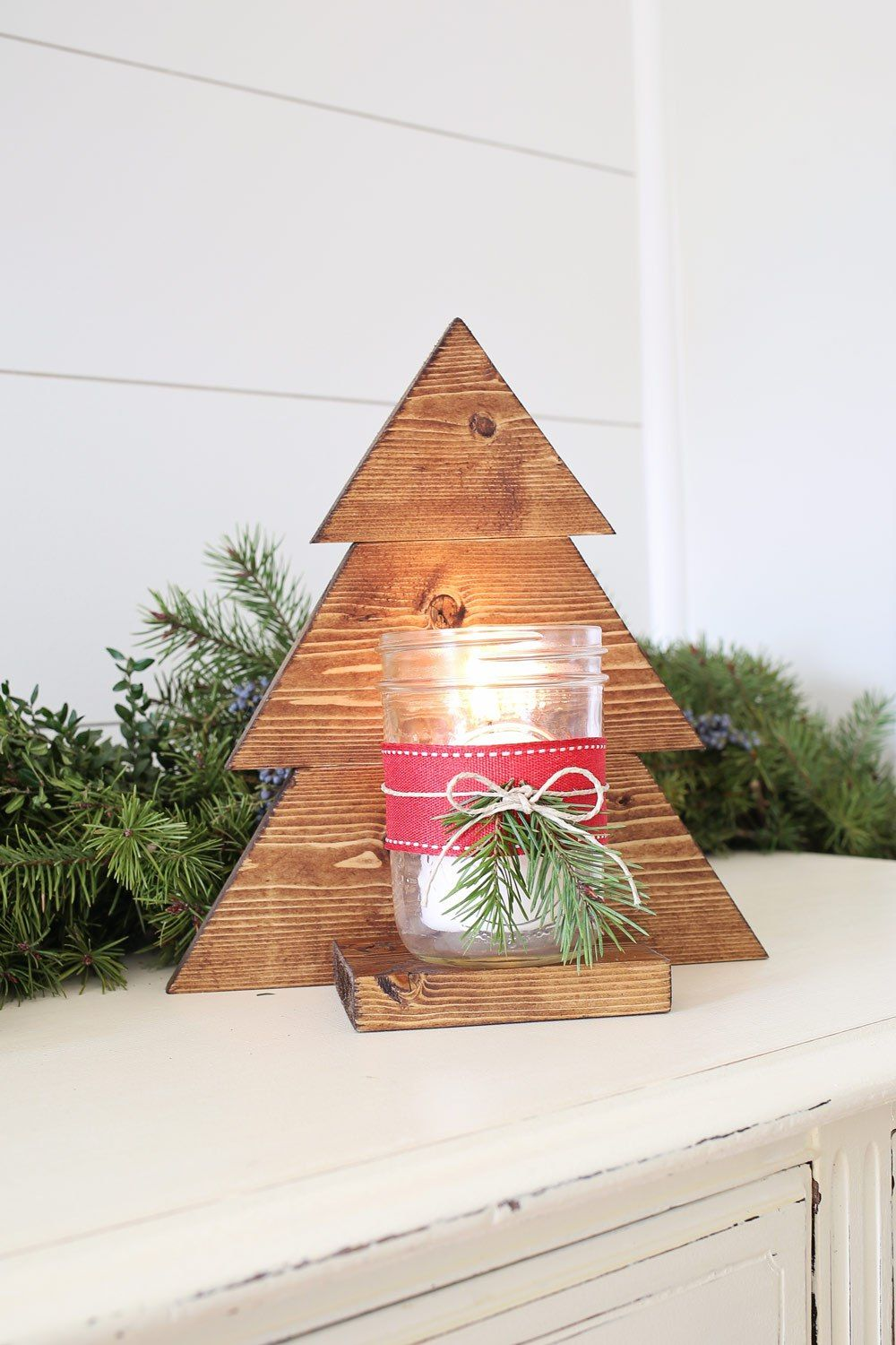 Diy Wood Christmas Tree Mason Jar Sconce Wood Christmas Decorations Wood Christmas Tree Wooden Christmas Crafts