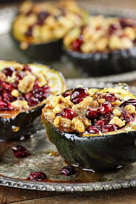 Acorn Squash Stuffed With Apples Nuts And Cranberries Recipe