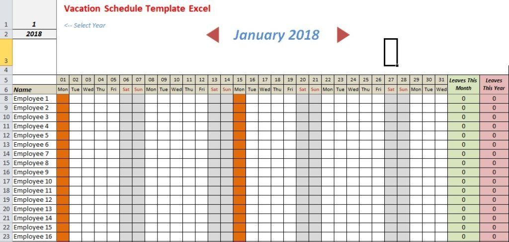 Vacation Schedule Template Excel Schedule Template Spreadsheet Template Templates