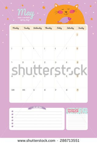 Cute Calendar Template For  Beautiful Diary With Vector