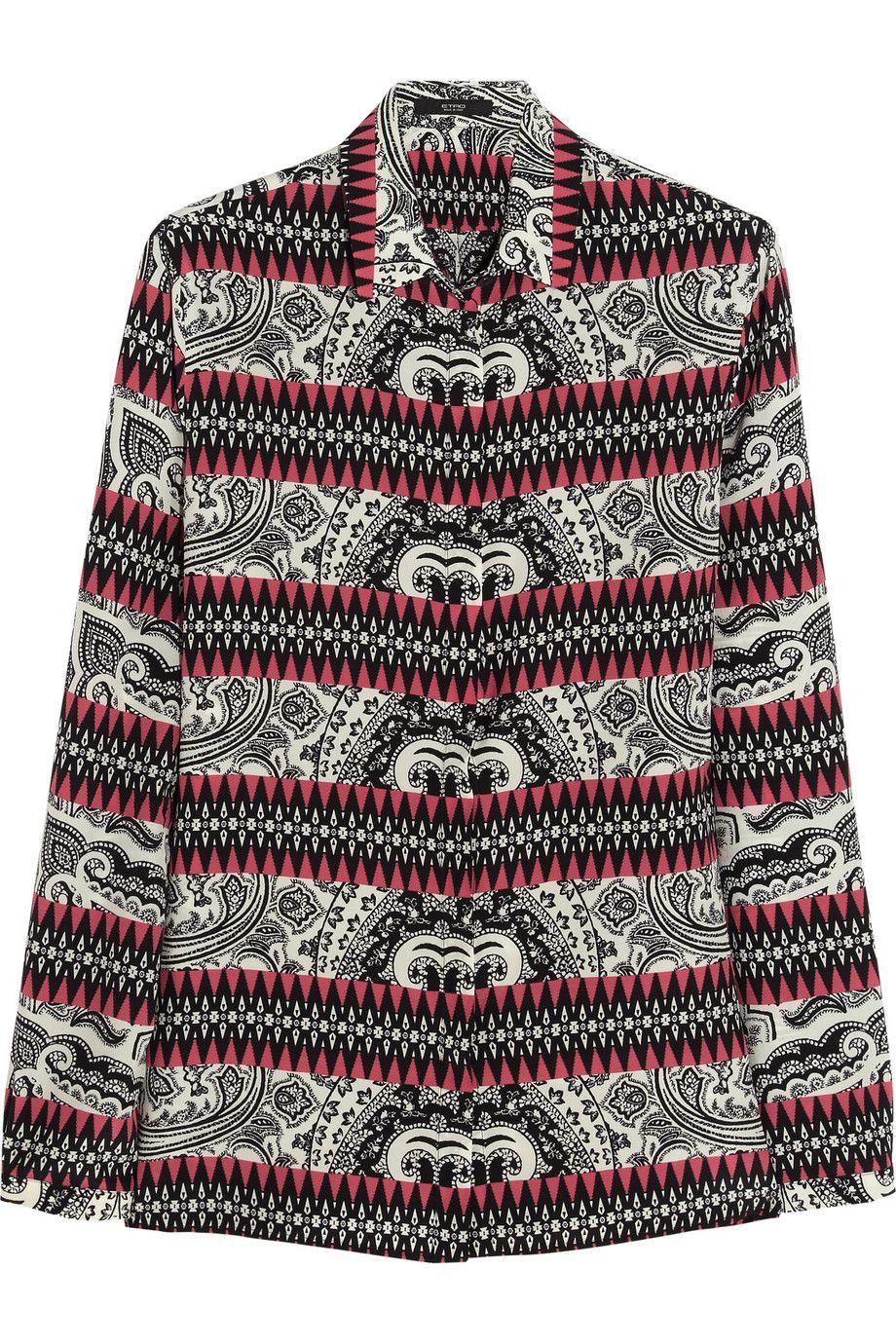 Etro|Printed silk-crepe shirt|NET-A-PORTER.COM