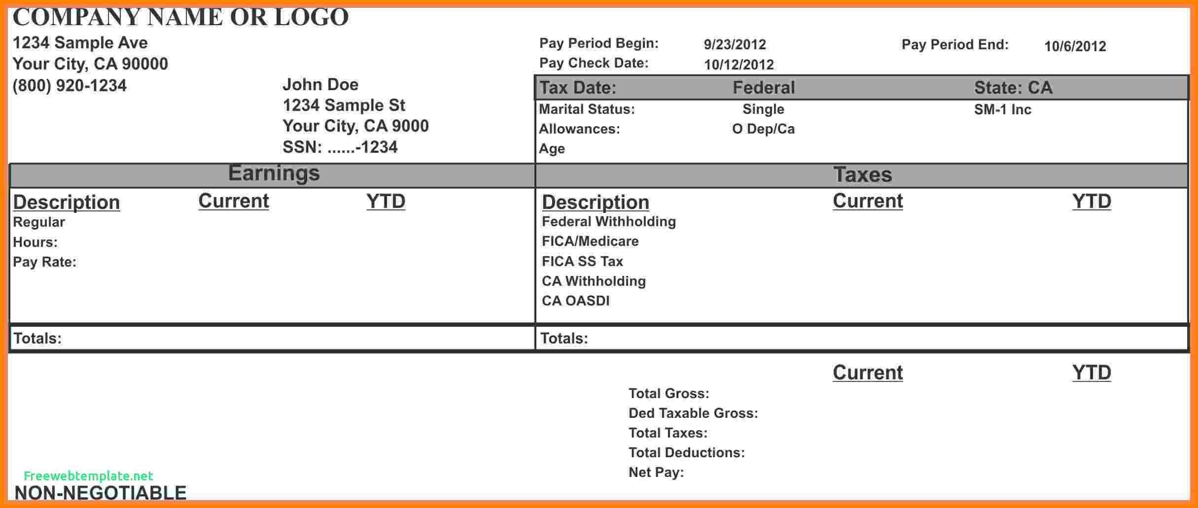 Blank Pay Stubs Template Up To Date 7 Paycheck Stub Template For