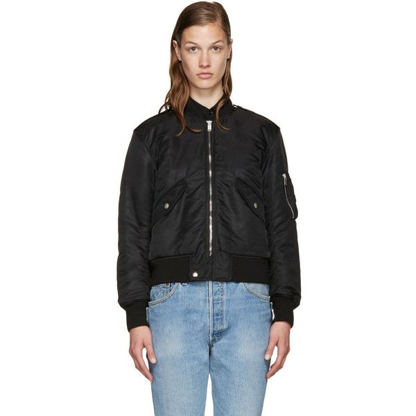 Saint Laurent Black Nylon Bomber Jacket ($1,305) ❤ liked on Polyvore featuring outerwear, jackets, black, flight jacket, zip bomber jacket, bomber jacket, yves saint laurent and yves saint laurent jacket