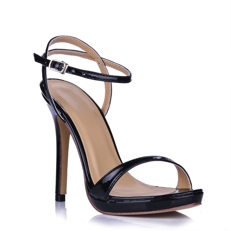 39c446772 DolphinGirl Women Black Simple Wedding Bridal Peep Toe Pumps High Heel  Stiletto Shoes SM00601  Amazon