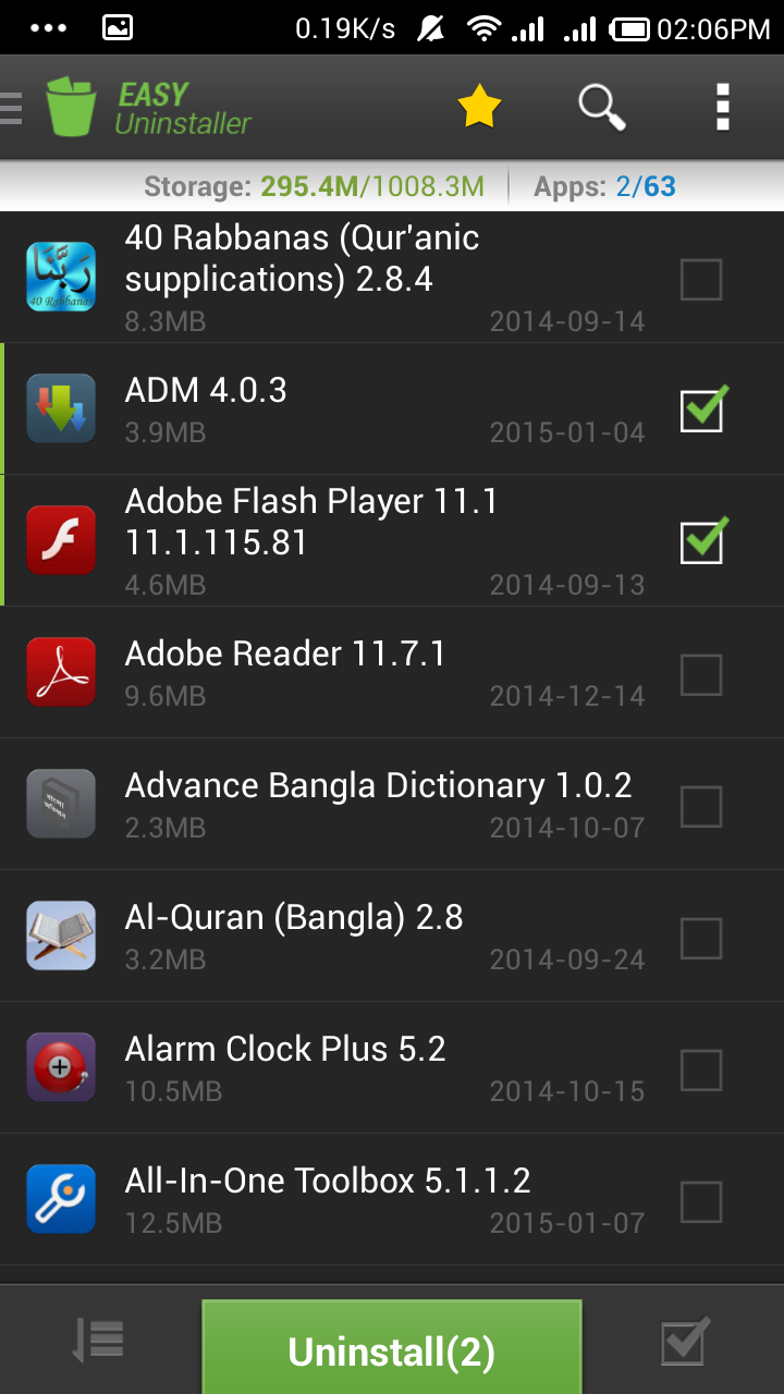 How to easily uninstall multiple apps in android