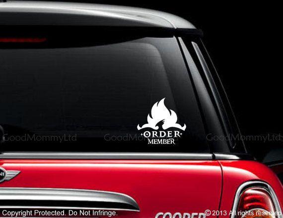 Harry potter inspired order member vinyl car decal for order of the phoenix
