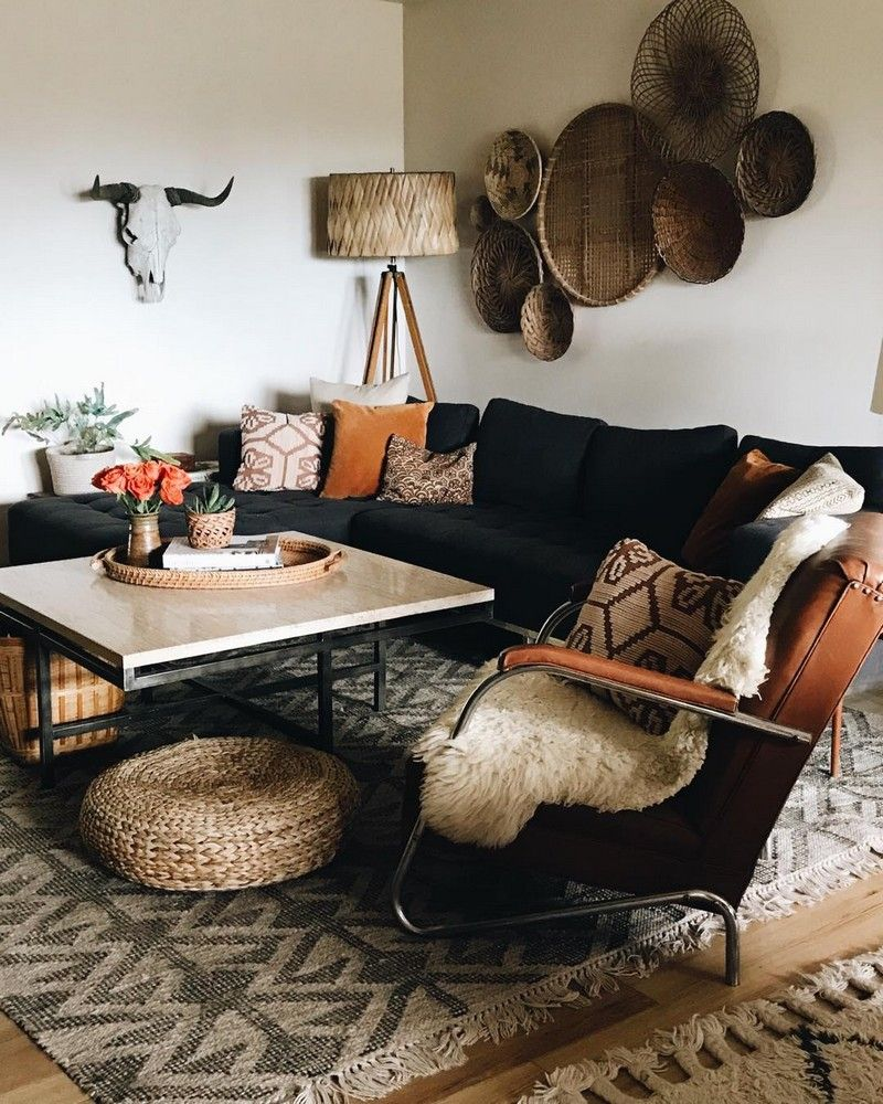 Bohemian Style Home Decors With Latest Designs Black Couch