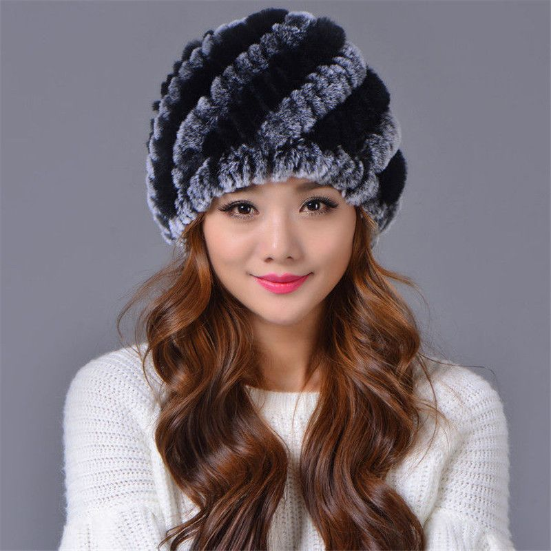 Women's Hats Real Natural Knitted Rex Rabbit Fur Hats Lady Winter Warm Charm Beanies Caps Female Headgear Free shipping