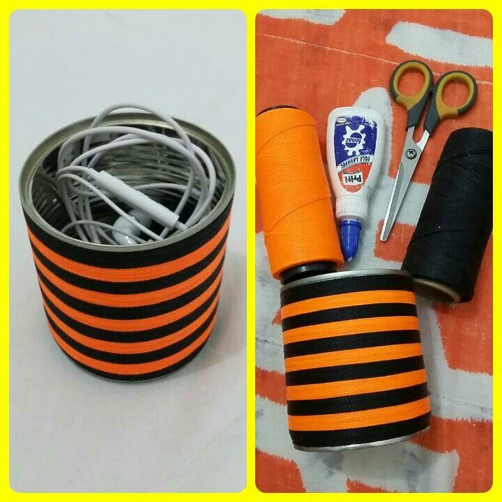 DIY - Porta objetos feito com lata de leite condensado e cordão encerado.