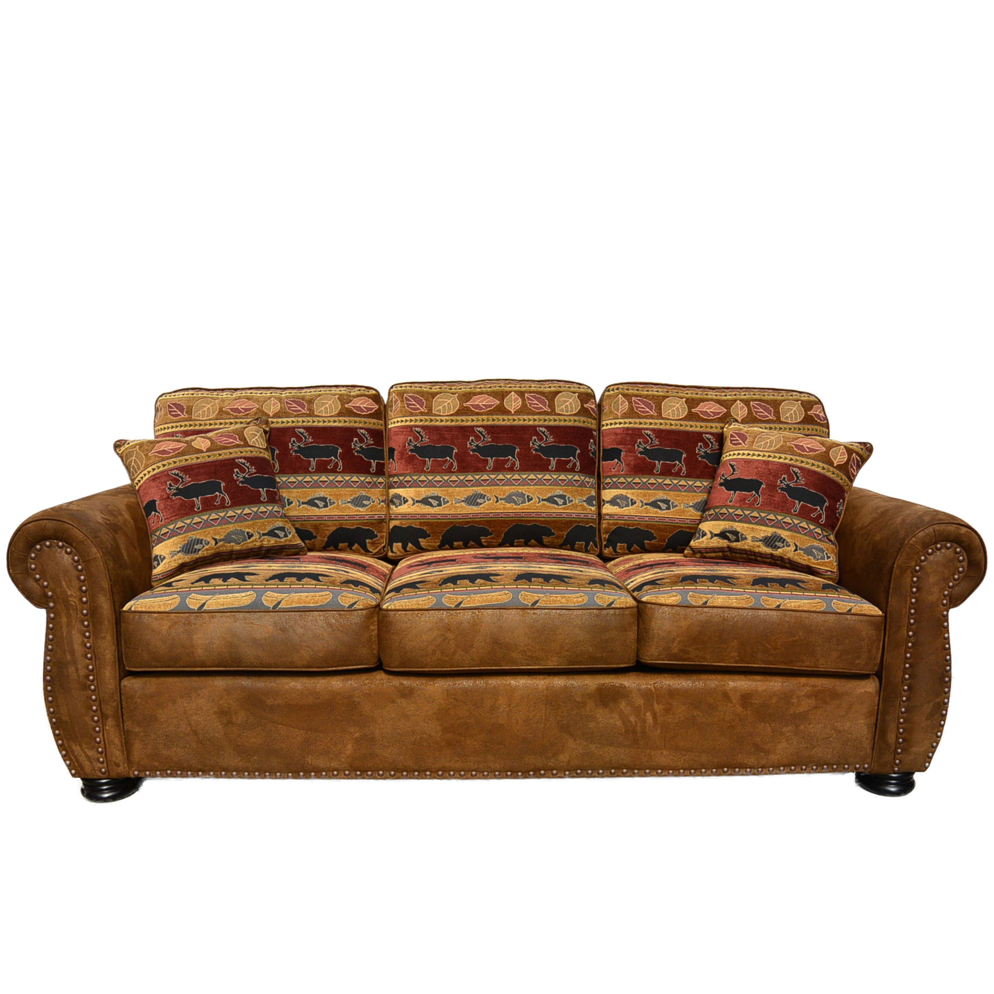 Porter Hunter Lodge Style Brown Sofa With Deer Bear And