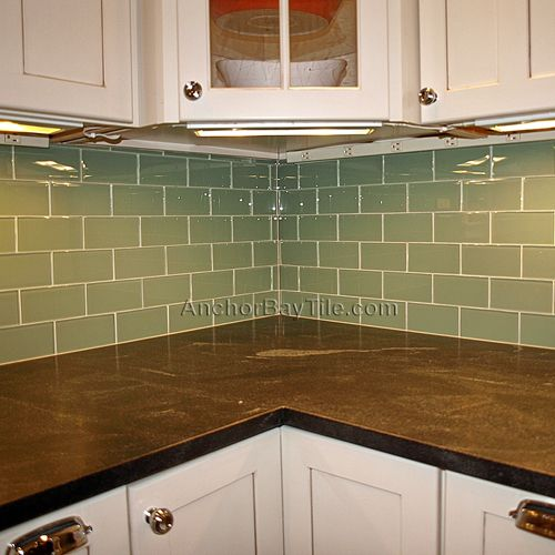 Sage Green Cabinets Marble Counters Subway Backsplash: Pin By Missy O'Neil On Home