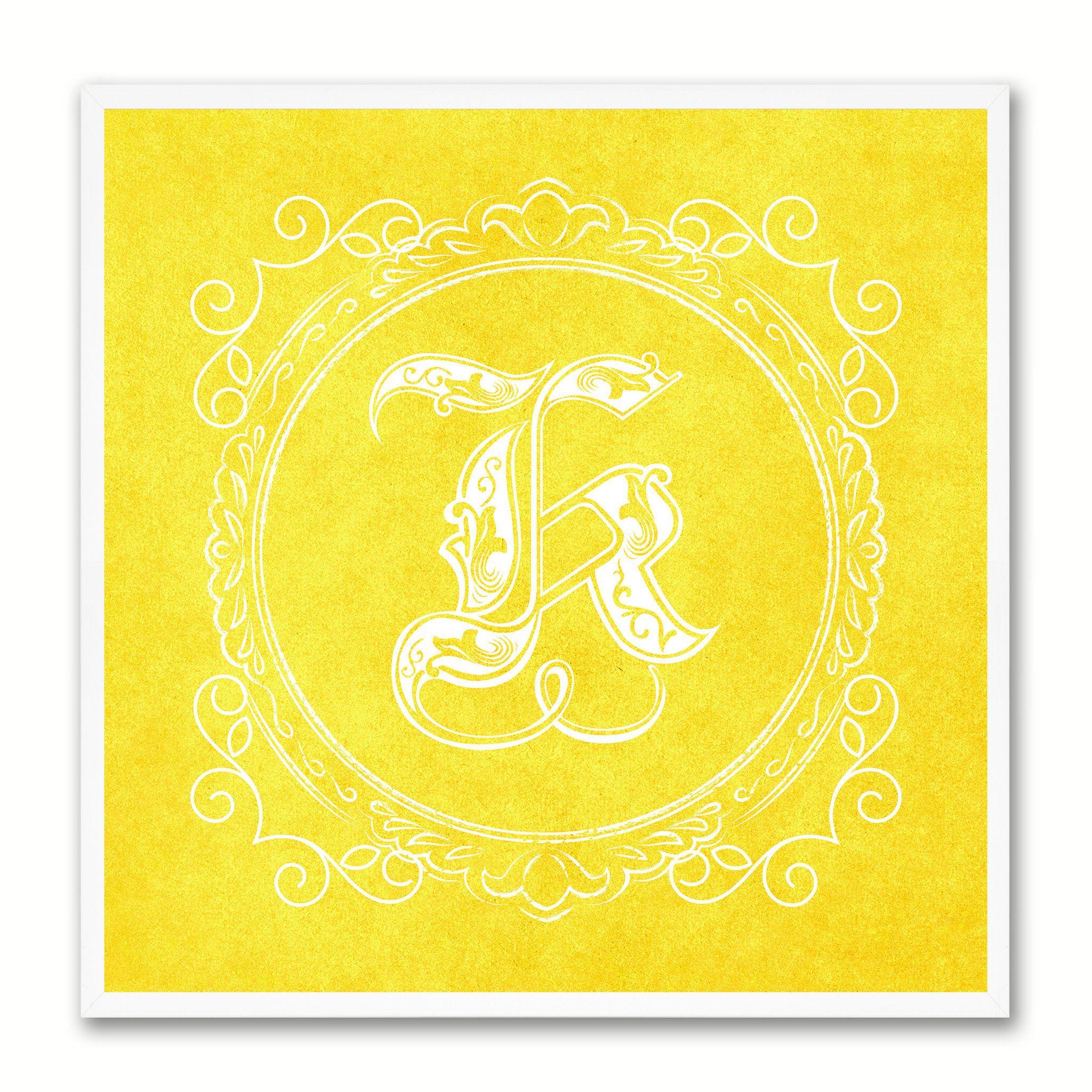 Alphabet Letter K Yellow Canvas Print Black Frame Kids Bedroom Wall ...