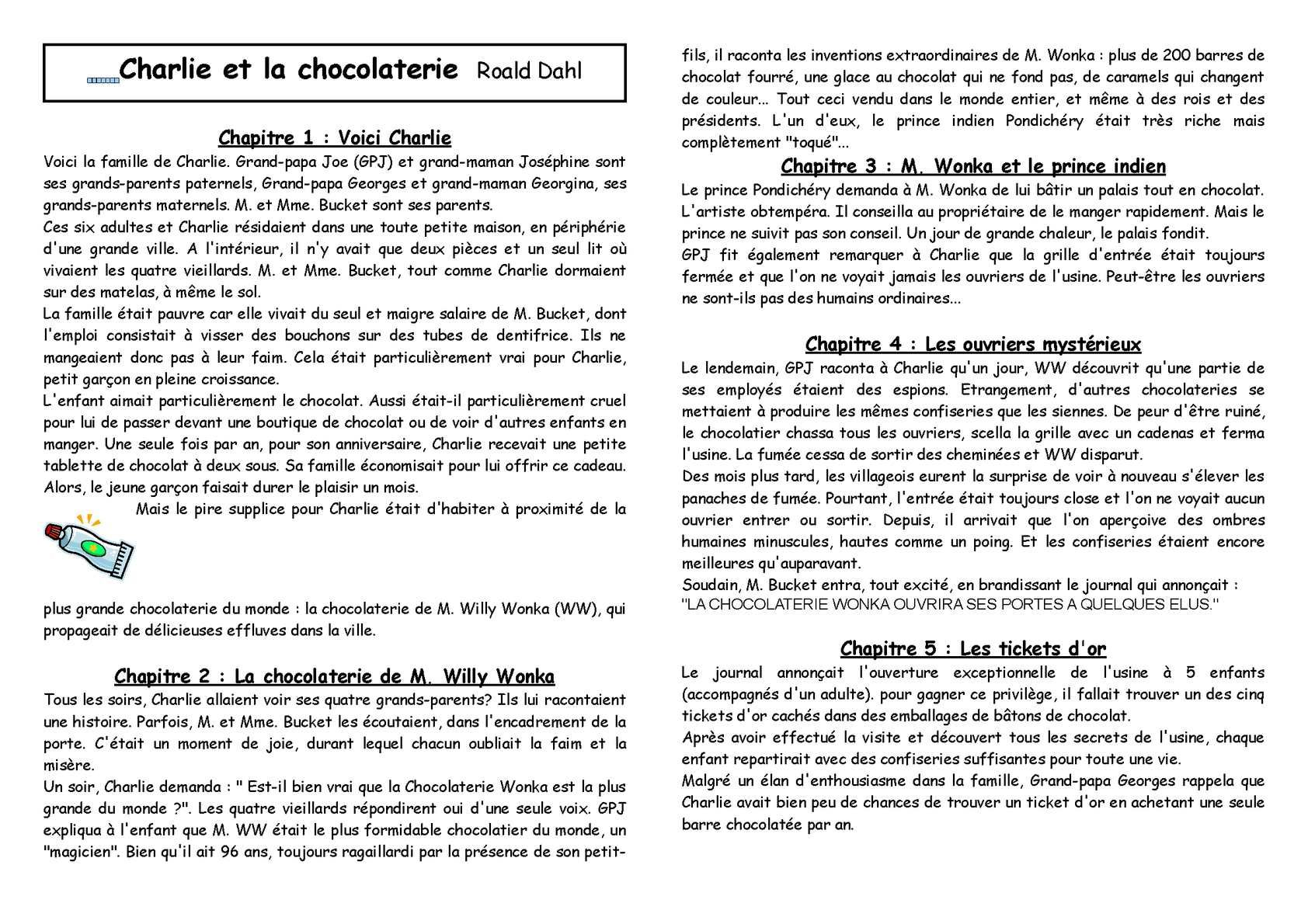 Cycle 3 Litterature Charlie Et La Chocolaterie Resume
