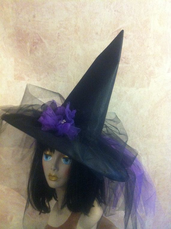 Costume Witch Hat in black and purple  by IsabellasHatsandBows