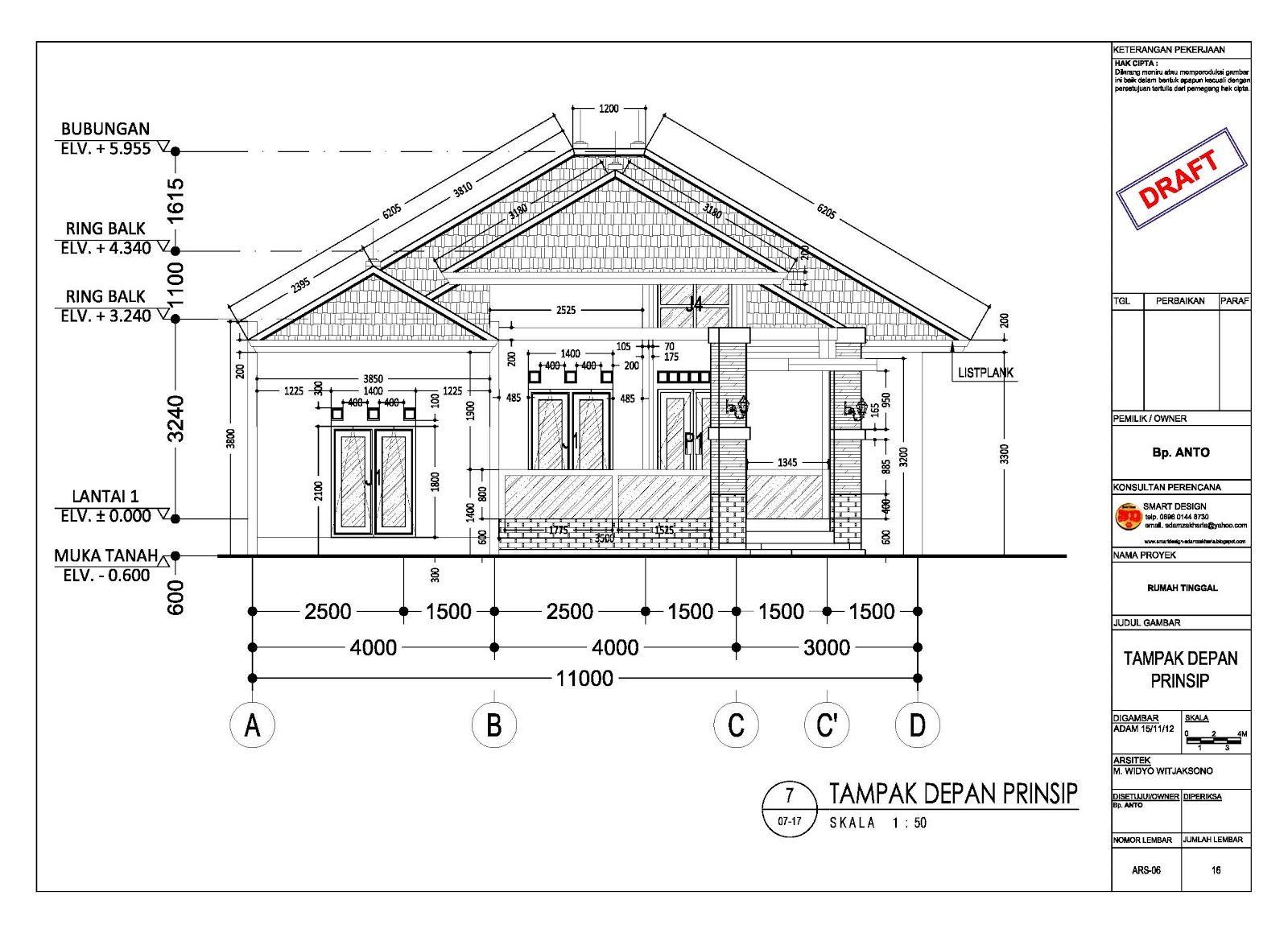 Gambar Kerja Proyek Rumah 7 Arsitektur Arsitektur Perumahan Denah Rumah