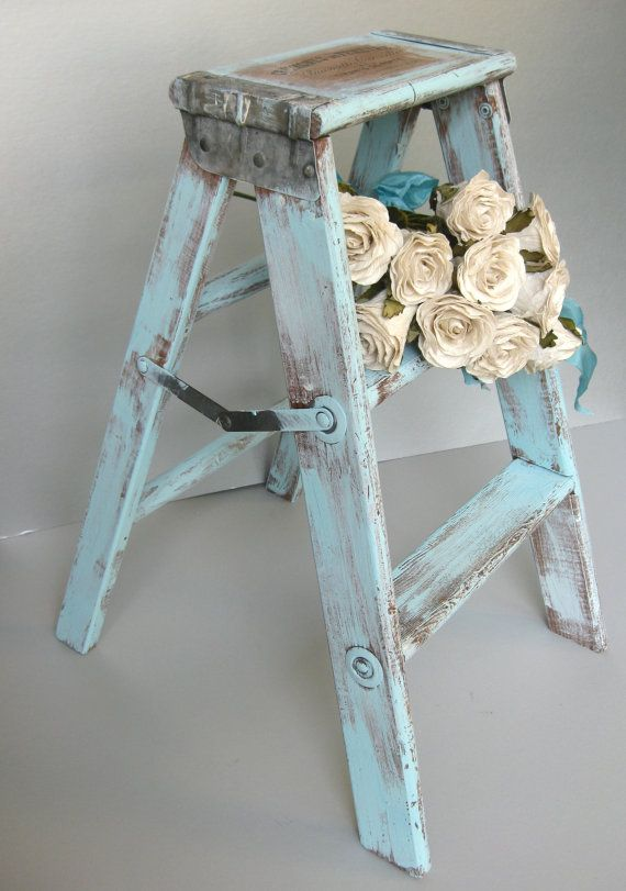 Mint Hand Painted Shabby Stepstool Step Ladder Accent Table