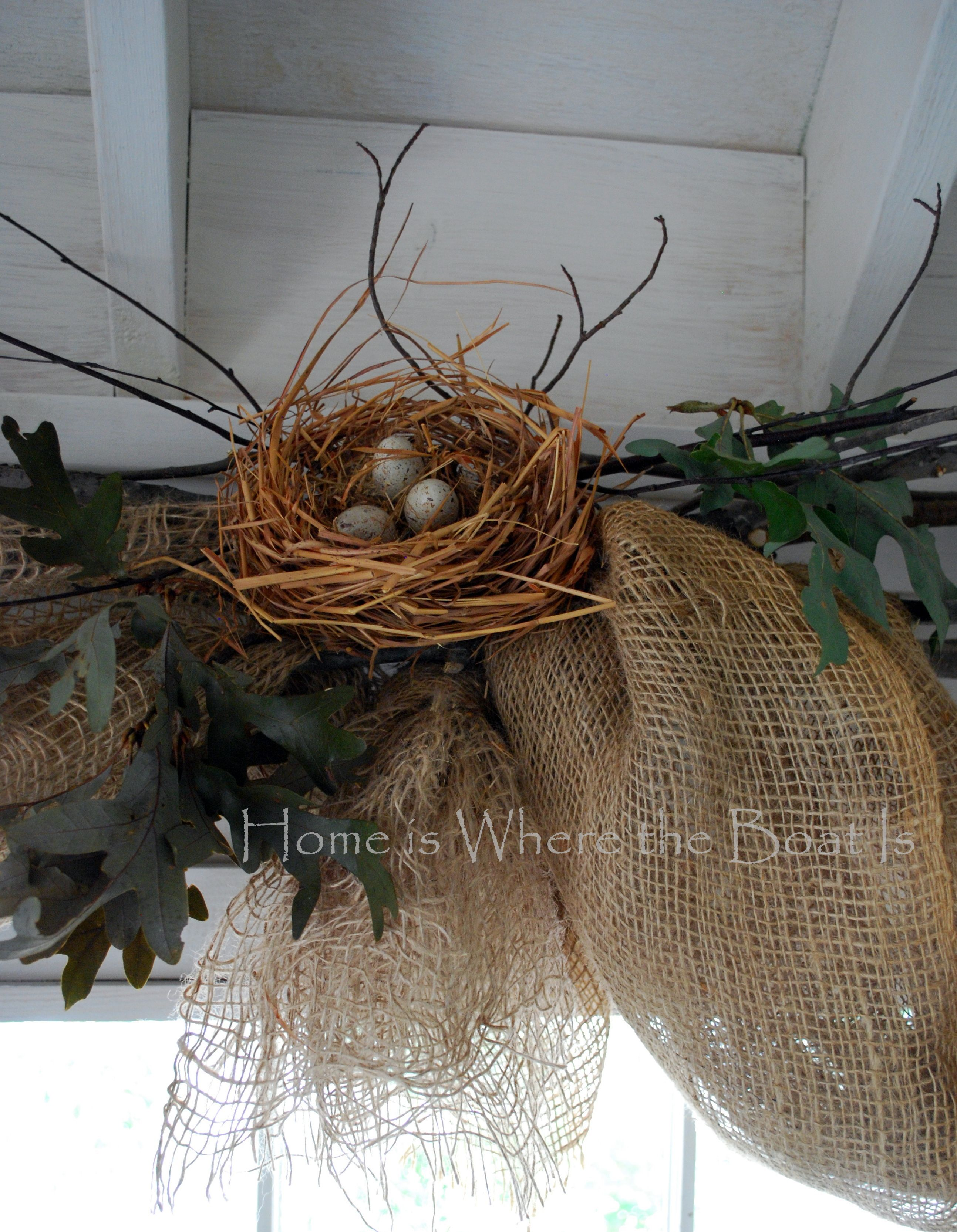 Potting Shed Nesting Window Dressing Burlap Window Treatments Window Dressings Kitchen Window Dressing