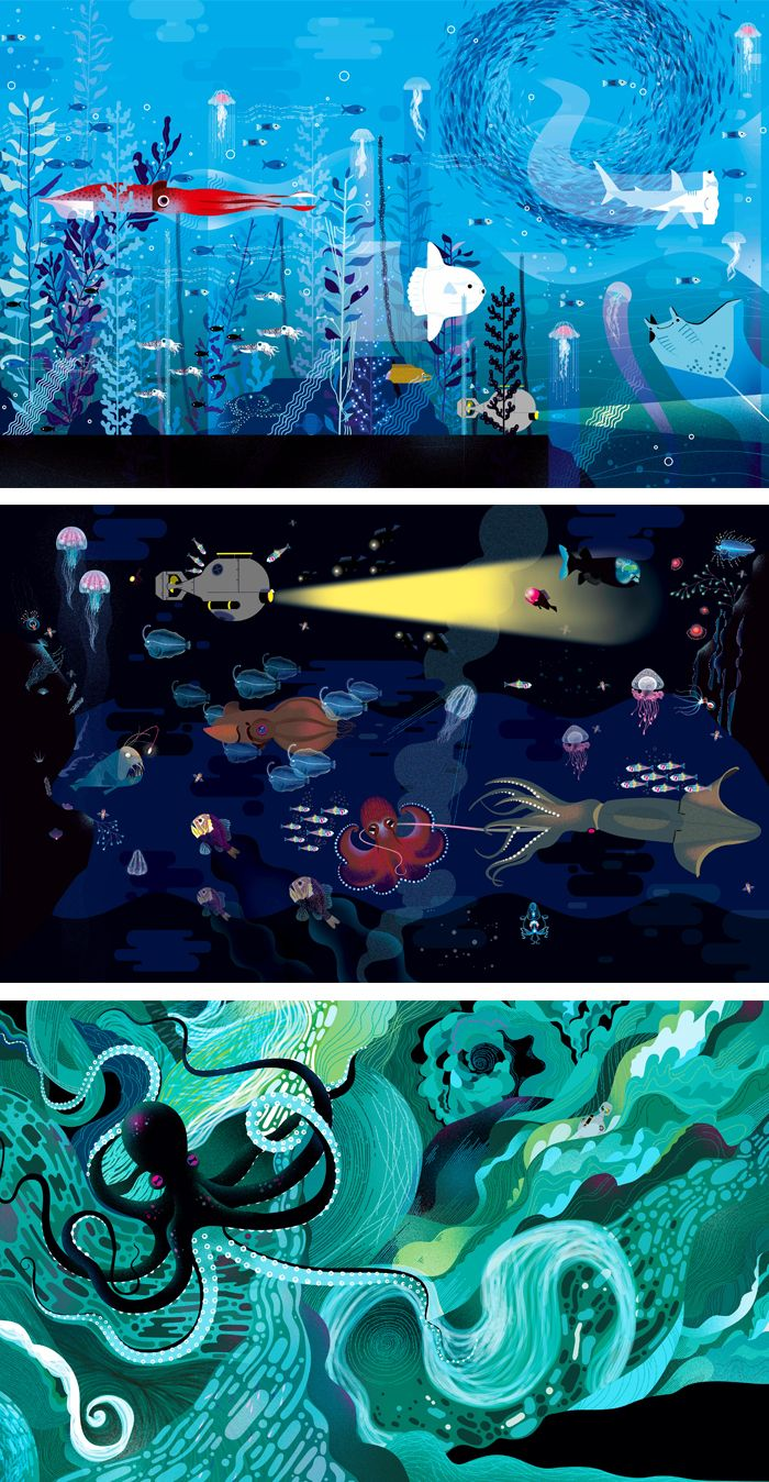 Charming Ocean Illustrations Show Hundreds Of Creatures Under The Sea Ocean Illustration Sea Illustration Illustration Art