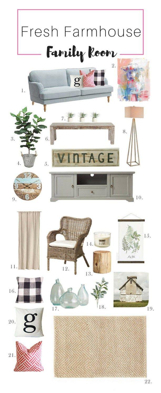Photo of Fresh Farmhouse Family Room Interior Mood Board  | Arts and Classy