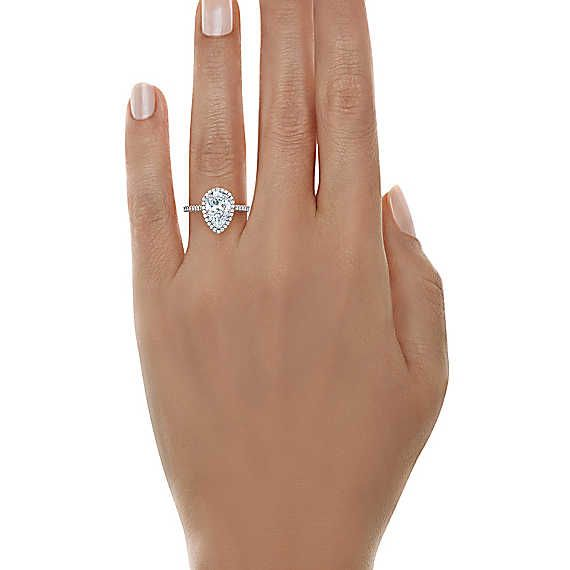 f9867f8ee Tiffany Soleste® Pear Shape Halo Engagement Ring with Diamond Band ...