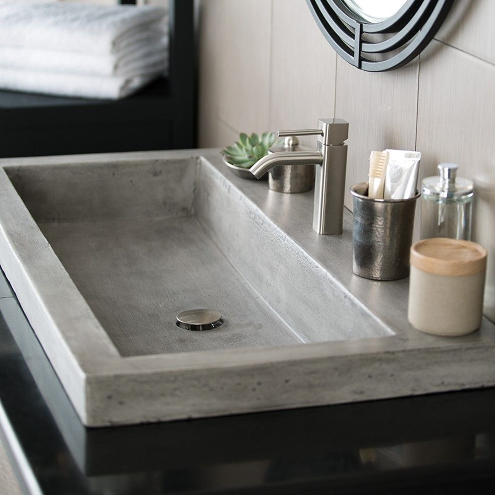 Trough 3619 36 Inch Concrete Trough Bathroom Sink Native Trails