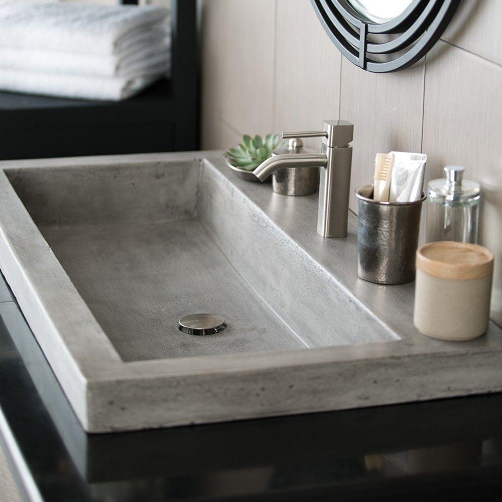 Trough 3619 36 Inch Concrete Trough Bathroom Sink Native Trails