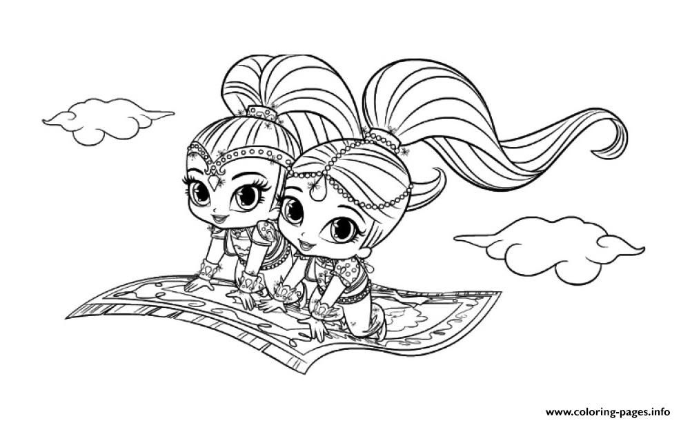 photo regarding Shimmer and Shine Printable Coloring Pages named Print Magic Carpet Shimmer and Glow coloring web pages