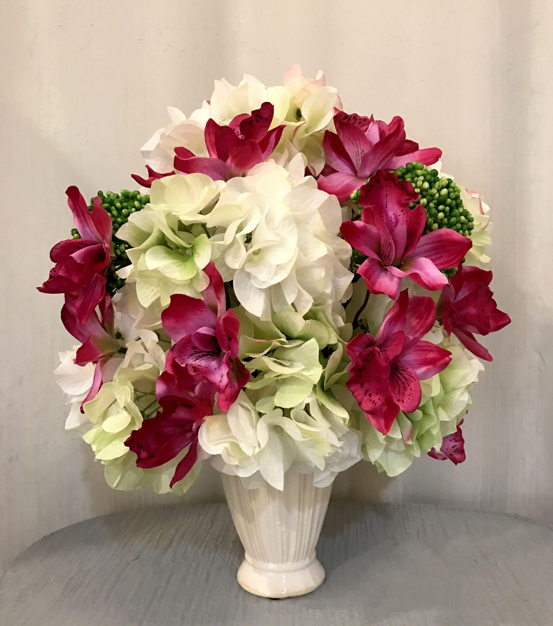 Cymbidium orchid hydrangea and sedum plant arrangement in cream cymbidium orchid hydrangea and sedum plant arrangement in cream ceramic vase orchid and white reviewsmspy