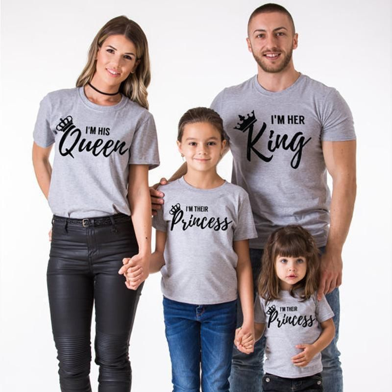 US Family Mom Baby Girls Matching Outfits Queen Tops Princess Romper Clothes