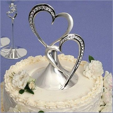 wedding cake hearts wedding cake topper sparkling hearts 32 95 silver 22808