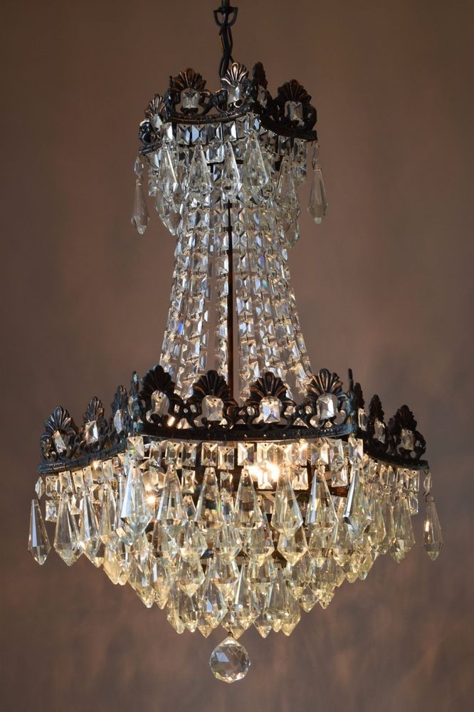 1950 S Antique Fixture French Vintage Crystal Chandelier Lamp Old