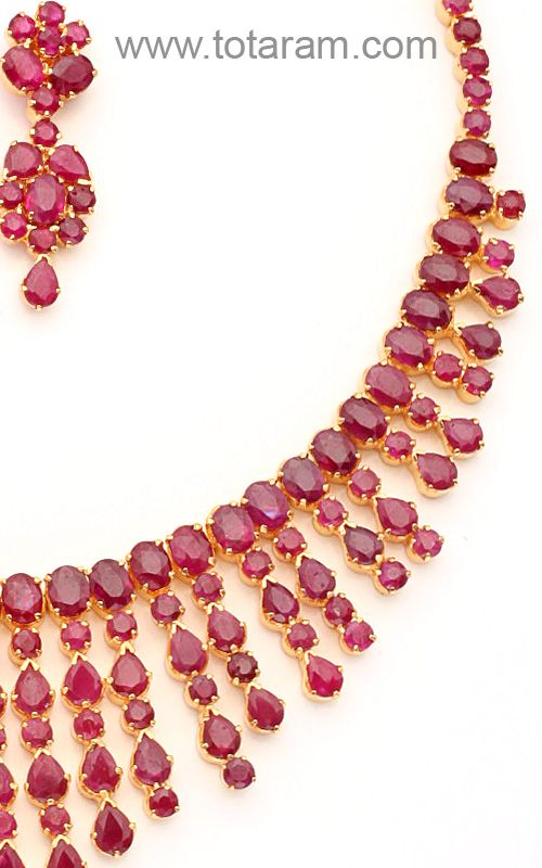 c6c1a2d789b54 22K Gold Rubies Necklace & Ear hangings Set SET266 - Indian Gold ...