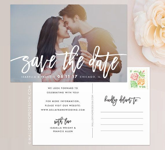 Handwritten Photo Save the Date Postcard / Magnet / Flat Card - Save - save date postcard