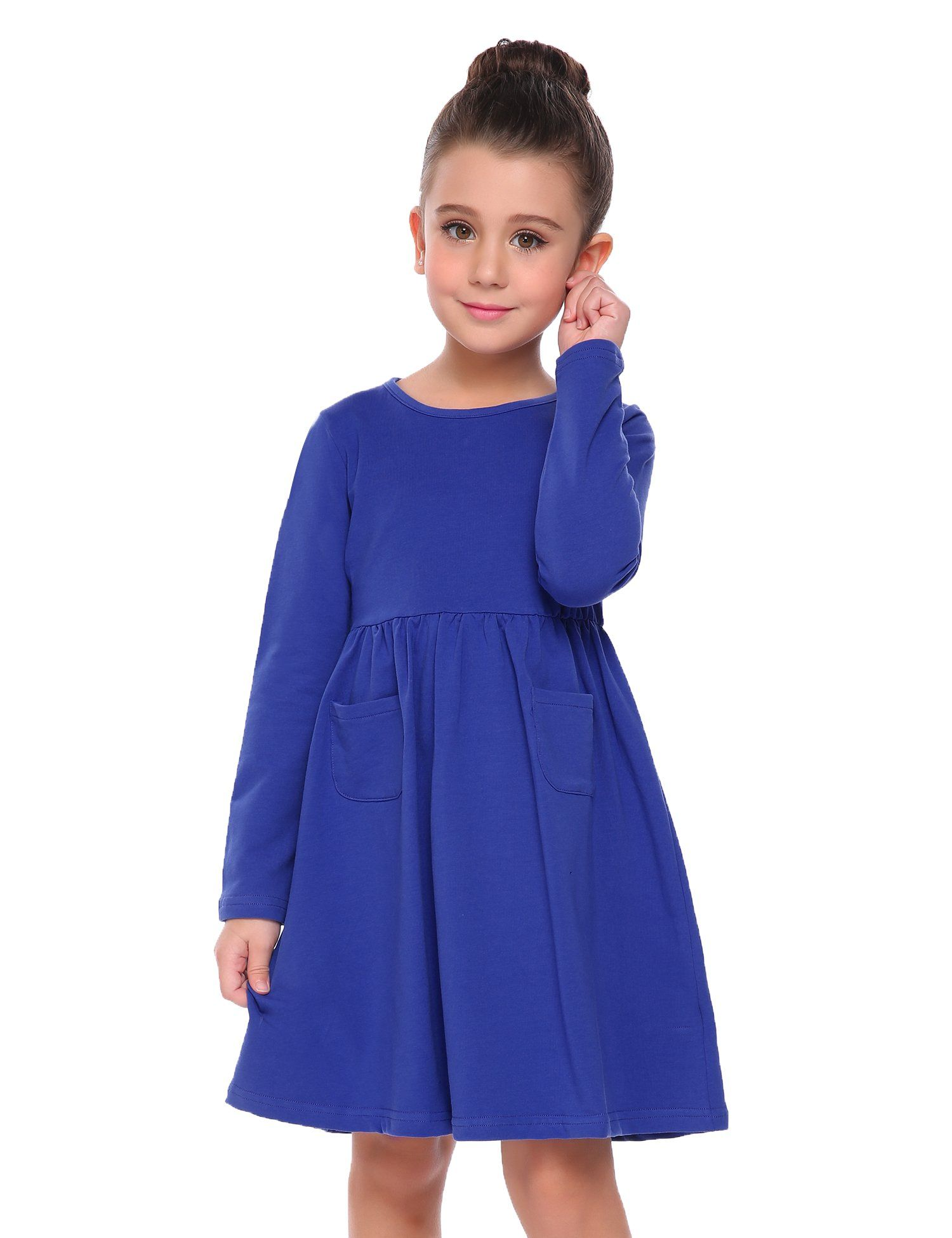 b758ee91a9d Arshiner Little Girls Long Sleeve Solid Color Casual Skater Dress.  Material  95% Polyester