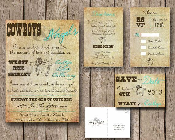 Camouflage Wedding Invitation Kits: Wedding Invitation Kit Cowboys & Angels, Western, Vintage