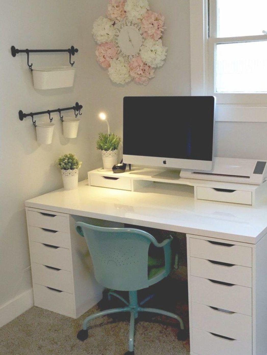 42 Inexpensive Craft Room Ideas From Ikea 48 Craft Room Ikea Alex Linnmon Craft Room 4 In 2020 Small Office Desk Office Desk Decor Ikea Desk