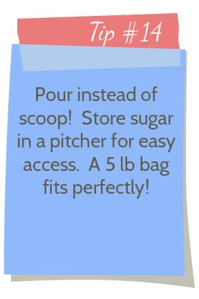 I used to store my sugar in a glass container with a lid, but the lid broke the other day. Slipped right out of my hands and glass went flying in all directions! Luckily Jayna was sitting on the counter and I was able to clean it up without her helping hands. Well, I had … … Continue reading →