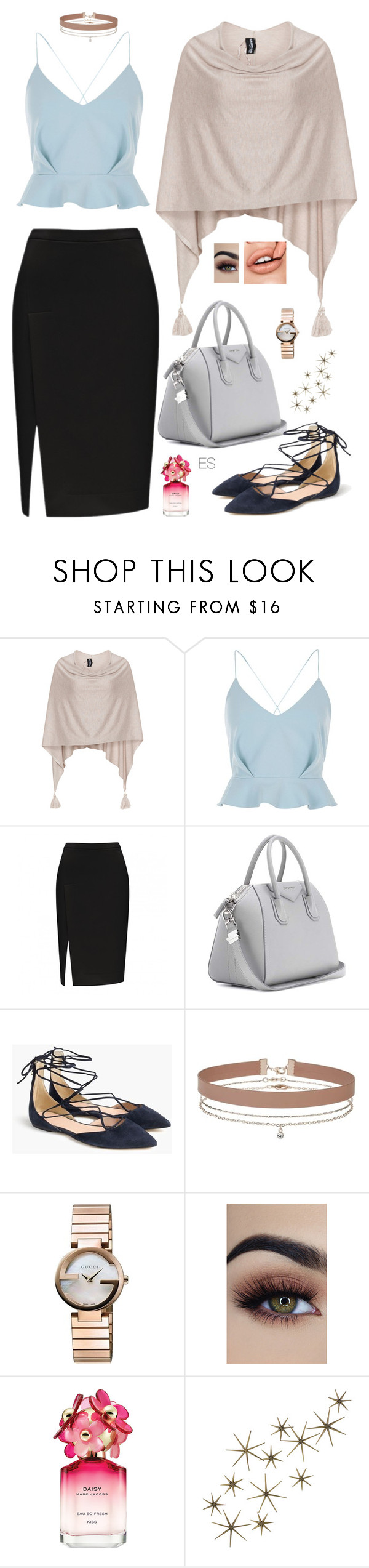 """Look 95"" by ellesungte ❤ liked on Polyvore featuring Samoon, River Island, Givenchy, J.Crew, Miss Selfridge, Gucci, Marc Jacobs and Global Views"