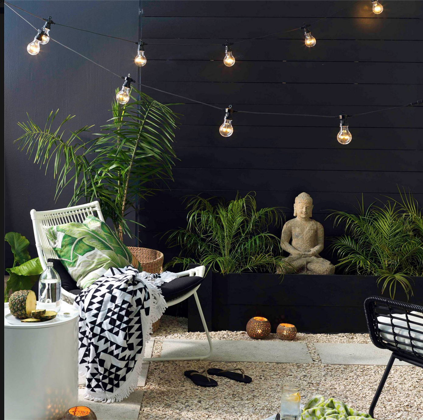 Indoor Garden And Lighting Pin by manuella pinna on exterieur pinterest breezeway walls look at black wall on cottage side indoor plants and festoon lights in breezeway workwithnaturefo