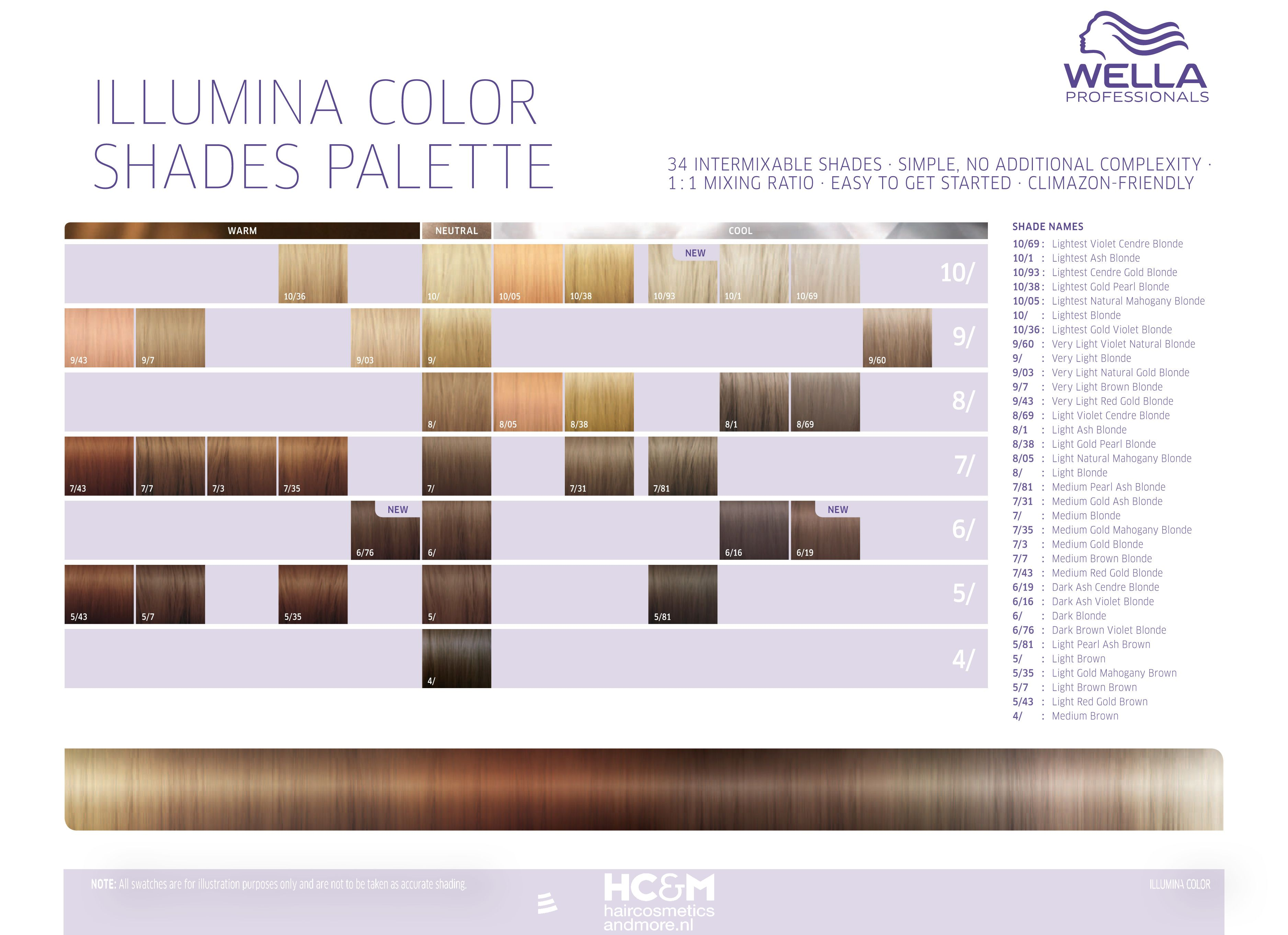 Wella Professionals Illumina Color Shades Palette 34 Shades