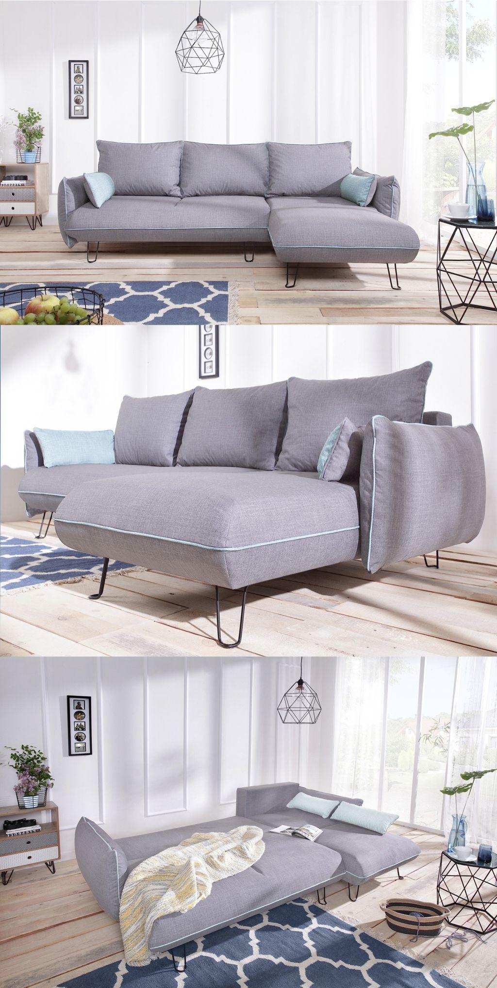 canapé design et minimaliste gris clair avec touches de bleu ciel ...