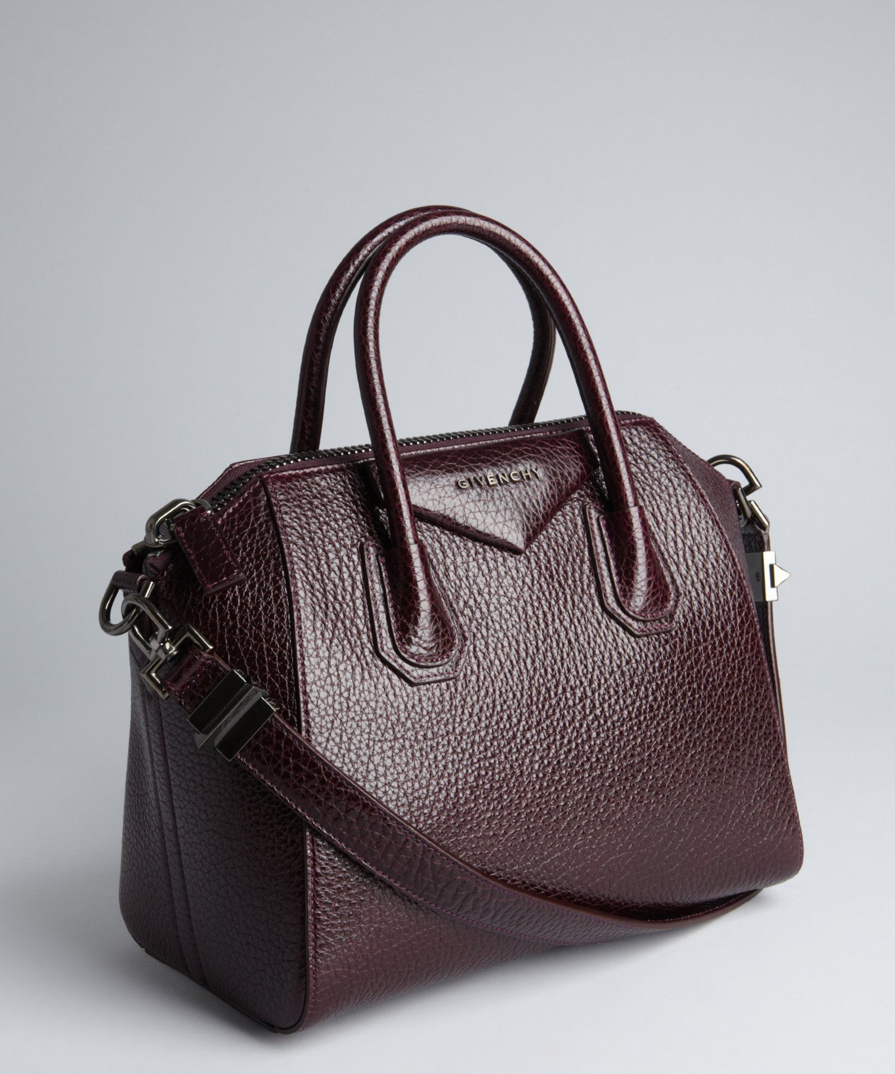 Givenchy purple pebbled leather 'Antigona' small satchel | BLUEFLY up to 70% off designer brands
