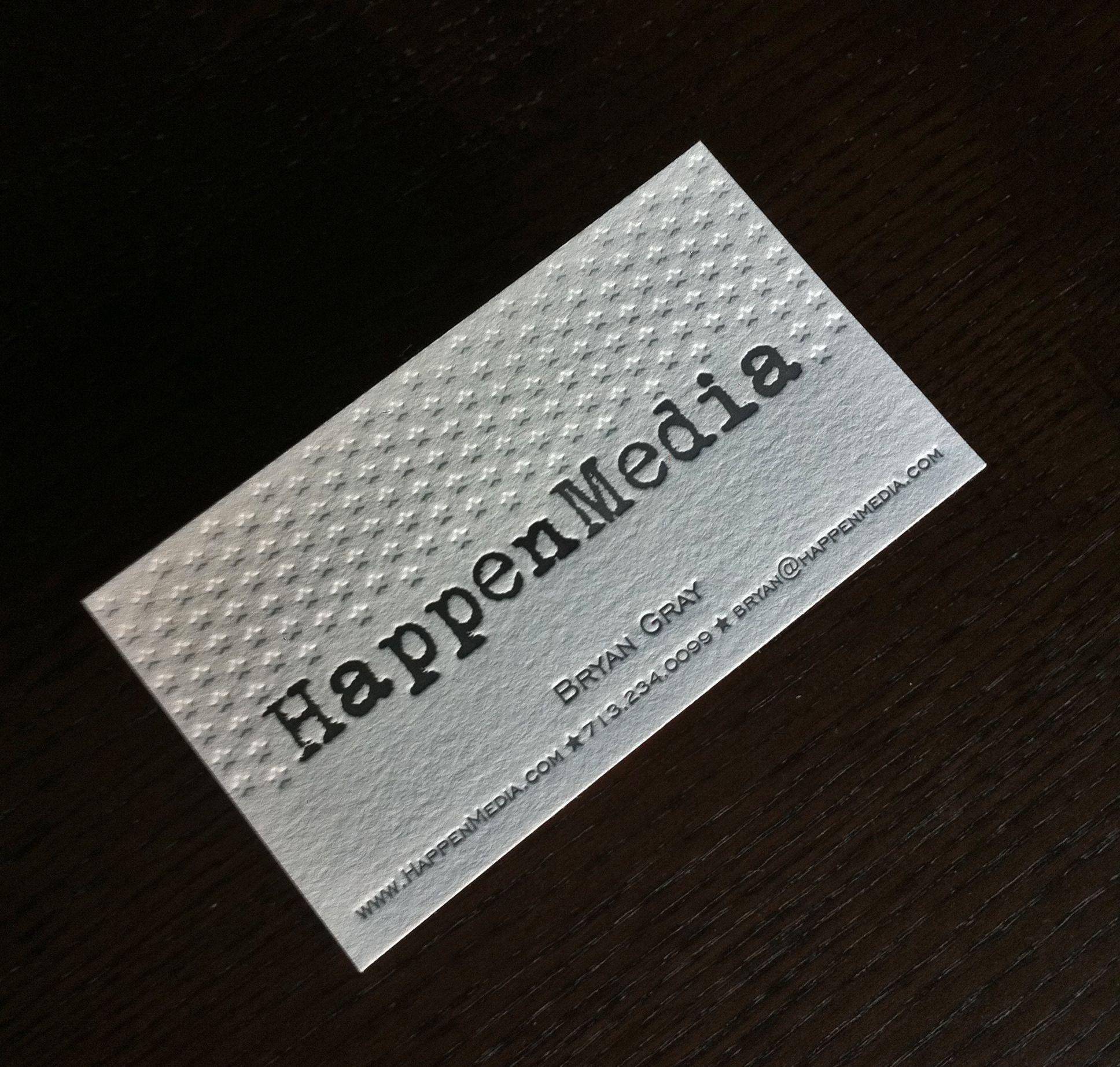 Happen Media - letterpress business card